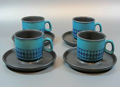 Vintage Ceramano Blue-Green 4 cup mug 4 plate West Germany Mid Century 60's 70's