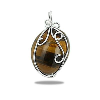 Pendentif pierre naturelle polie, wire wrapping argent 925 finition volutes