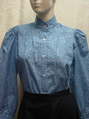 Ladies Victorian blouse Frontier Classics Somerset blue leaf floral style S-3X