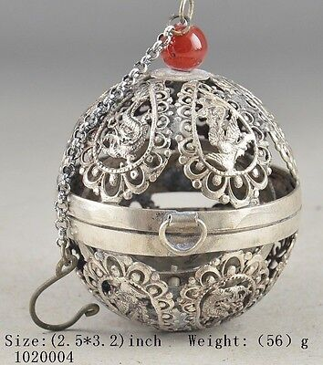 TIBET SILVER PLATED CARVED HOLLOW OUT DRAGON HAND OLD THE CRICKET CAGE