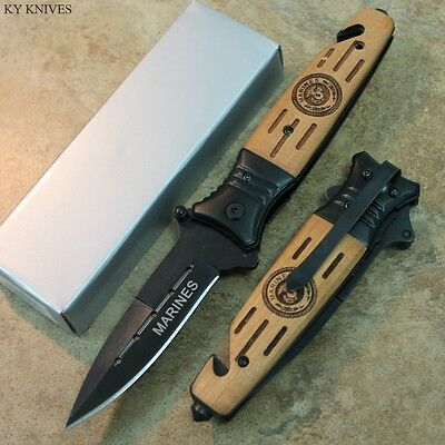 "8"" CARVED WOOD Marines Assisted Open Rescue Pocket Knife NEW SE-846MA zix"