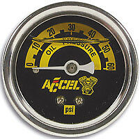 Accel 7121A Oil Pressure Gauge 60PSI CHROME Softail Dyna Fits Harley Davidson