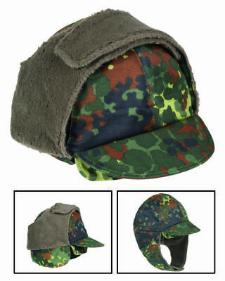 German Military Flectarn Camouflage Cold Weather Winter Cap/hat With Ear Flaps