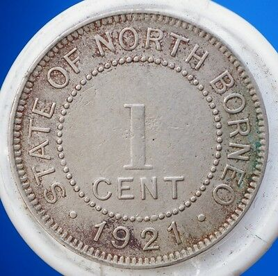 1921 H British North Borneo 1 Cent Coin  KM# 3