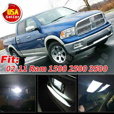 13 Pure White LED Lights Interior Package Kit for 02-11 Dodge Ram 1500 2500 3500