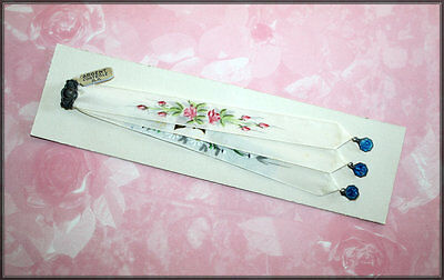 Hand Painted Silk Moire Catholic Missal RIBBON MARKERS with Blue Enamel Medals