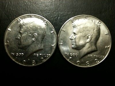 1982 P&D Kennedy Half Dollar Set AU/BU Clad 50 Cent About UNC MS Mint