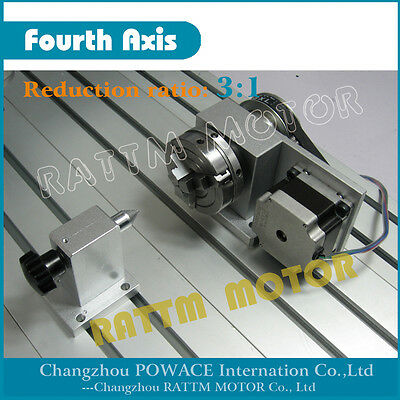 CNC Router Rotational Engraving machine 4th axis Belt type jaw chuck & Tailstock