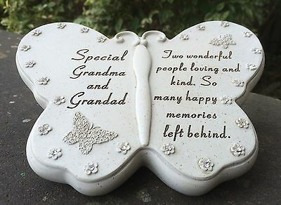 Memorial For Grandma & Grandad Butterfly Shaped Grave Ornament Funeral Tribute