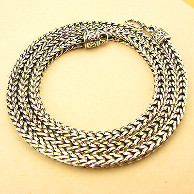 """5MM 925 STERLING SILVER EP BALI WHEAT CHAIN OXIDIZED NECKLACE 17 1/2"""" to 27 1/4"""""""