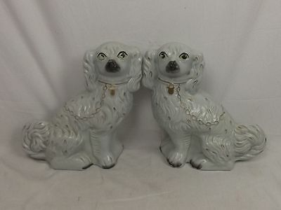 Large Pair Of 19th Century Staffordshire Spaniel Fireside Dogs