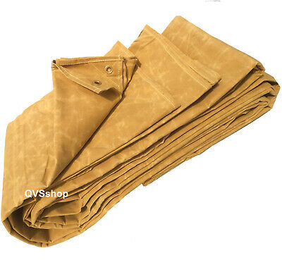HEAVY DUTY TAN CANVAS TARPAULINS Cover Waxed Cotton Sheets - 15 DIFFERENT SIZES
