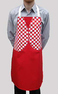 Wholesale Job Lot 10 Brand New Red Checked Mock Waistcoat Aprons Mens Womens