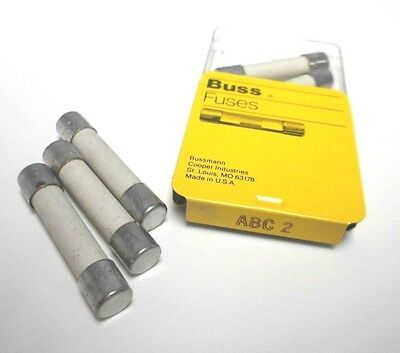 """ABC-2 Amp LOT of 10 Fast Acting 1/4""""x1-1/4"""" Fuse BUSS Bussmann NEW Fuses NOS"""