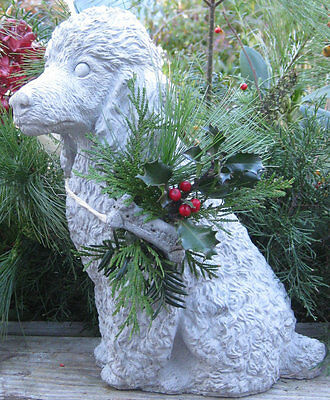 Beautiful hand crafted large concrete poodle with festive evergreen statue!!!