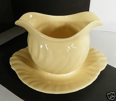 Vintage Franciscan Coronado Gloss Yellow Gravy Boat with Attached Underplate