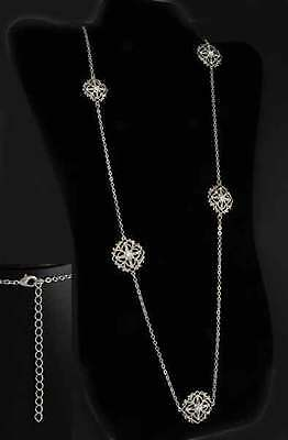"""36"""" Silver Ep Chain Necklace w/ Austrian Crystal Filigree Stations"""
