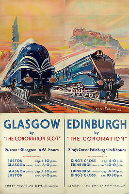 Vintage Rail travel railway poster  A4 RE PRINT London to Glasgow and Edinburgh