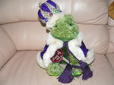 FROG PRINCE SOFT Plush Toy KING OF JUNGLE Glitter Crown Purple CAPE well MADE