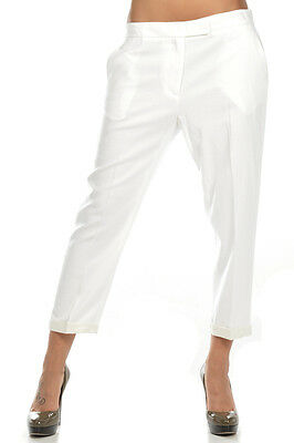 JUST CAVALLI New Woman White Linen Blended Capri Trousers Pants Sz 44 Italy Made