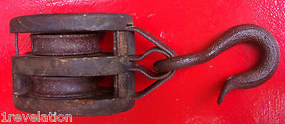 Old Block Tackle Wood Iron Pulley Antique Hay Loft Nautical Double Barn L@@K