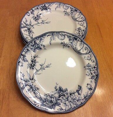 "222 Fifth Round Dinner Plates. Adelaide Blue. Set Of 4 Size 11"" Beautiful. New"