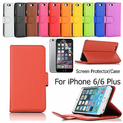 Screen Protector/Wallet Leather Case Cover for Apple iPhone 6 6 Plus
