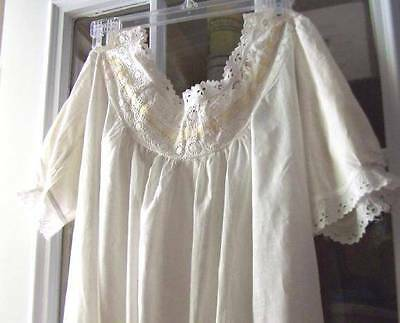 Antique White Linen Night Gown With Eyelet Edging And Cream Color Ribbon