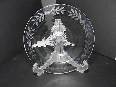 "Heisey Flat Bowl Star Bottom Floral Gray Cuts Clear 8 3/4"" D TM"