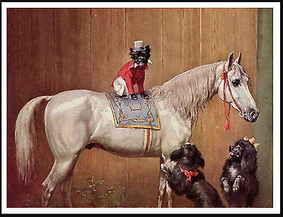 Affenpinscher And Poodles Dog On A Horse Lovely Vintage Style Dog Print Poster