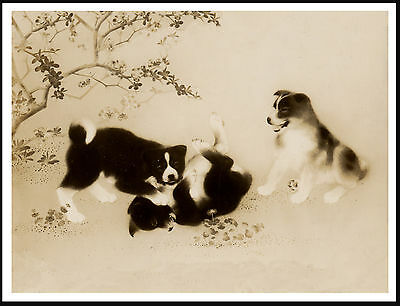 Akita Puppies At Play Lovely Vintage Style Dog Print Poster