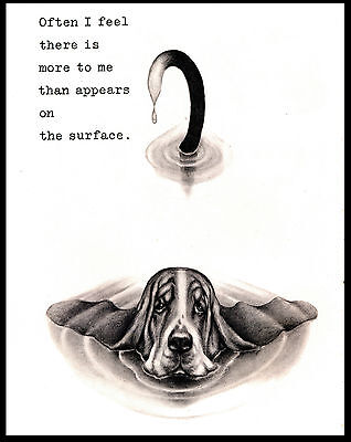 Basset Hound Mostly Under Water Lovely Comic Dog Print Poster