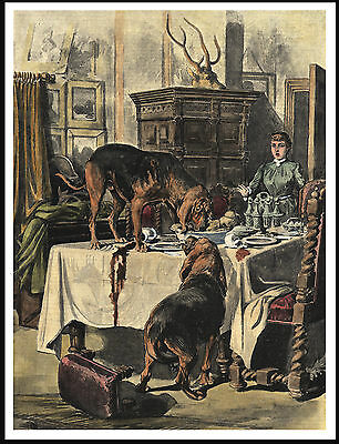 Bloodhound Dogs Stealing Food From Table Lovely Vintage Style Dog Print Poster