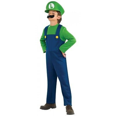 Luigi Costume Kids Super Mario Brothers Bros Halloween Fancy Dress