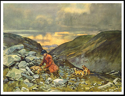 Border Terrier And Huntsman In The Hills Lovely Vintage Style Dog Print Poster
