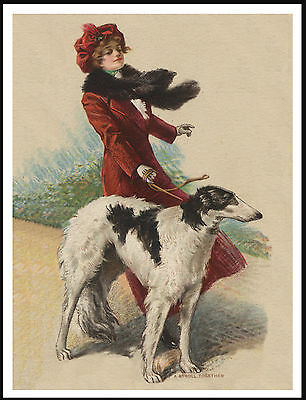 Borzoi Pretty Lady Walks Her Dog On A Windy Day Vintage Style Dog Print Poster