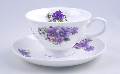 BONE CHINA CUP & SAUCER - PURPLE PANSY CHINTZ - MADE IN ENGLAND - ADDERLEY CHINA