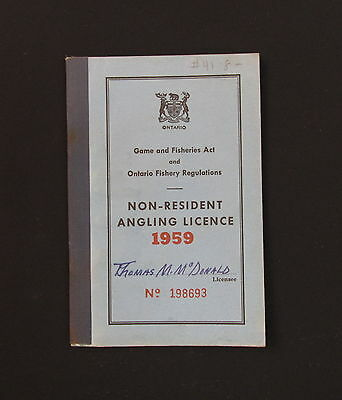 Vintage Ontario Canada 1959 Non-Resident Angling Licence - Thomas M. McDonald