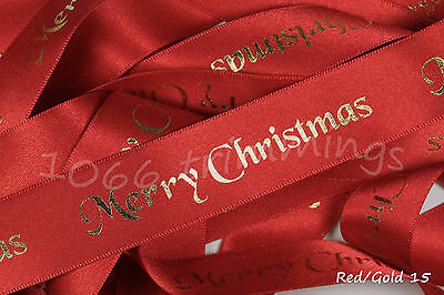 Merry Christmas Ribbon Red With Foil Print Berisfords 2 Widths 10mm & 25mm