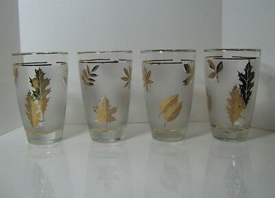 Gold Leaves Frosted Glasses (4) - Libbey