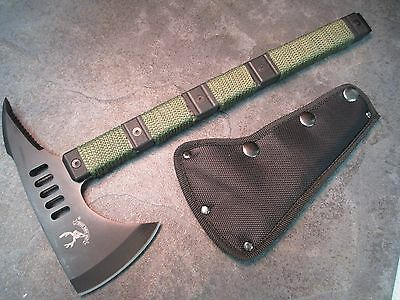 """14 1/2"""" Black Tactical Axe With Pick And Sheath Green Cord Wrapped 6184 zix"""