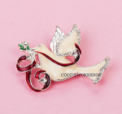 QUALITY ENAMEL WHITE DOVE PIGEON CRYSTAL CHRISTMAS HOLIDAY BROOCH PIN GIFT