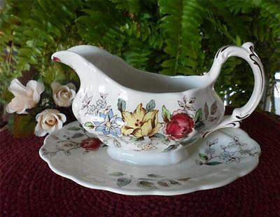 """VTG English BOOTHS Old MK """"Flowerpiece"""" A8064 Gravy Boat Attached Under Floral G"""
