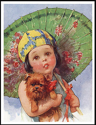 Brussels Griffon And Little Girl With A Parasol Lovely Dog Print Poster