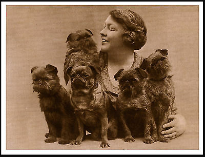Brussels Griffon Lady And Her Dogs Lovely Vintage Style Sepia Dog Print Poster