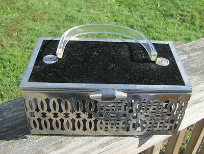 Vintage silver metal box purse w clear plastic or lucite handle