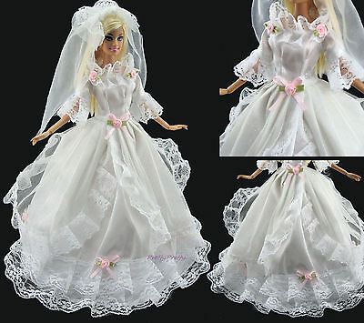 White Lace Wedding Dress Veil Party Gown Bridal Princess Clothes For Barbie Doll
