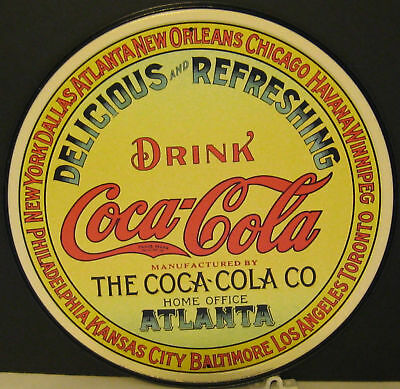 COKE  DELICIOUS & REFRESHING KEG LABLE ROUND METAL SIGN.