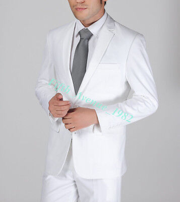 Brand Mens Suit White Slim Fit Two Button Wedding Formal Suits Man Jacket Pants