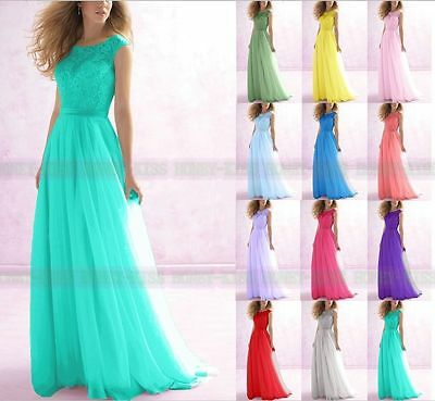 New Long Lace Bridesmaid Formal Gowns Ball Party Cocktail Evening Prom Dresses